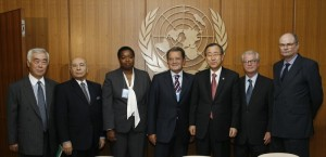 The UN-AU Panel with Secretary-General; Mr. Roman Prodi (Italy), appointed to chair the Panel of distinguished persons; Mr. James Dobbins (United States); Mr. Jean-Pierre Halbwachs (Mauritius); Ms. Monica Juma (Kenya); Mr. Toshi Niwa (Japan); and Mr. Behrooz Sadry (Iran).