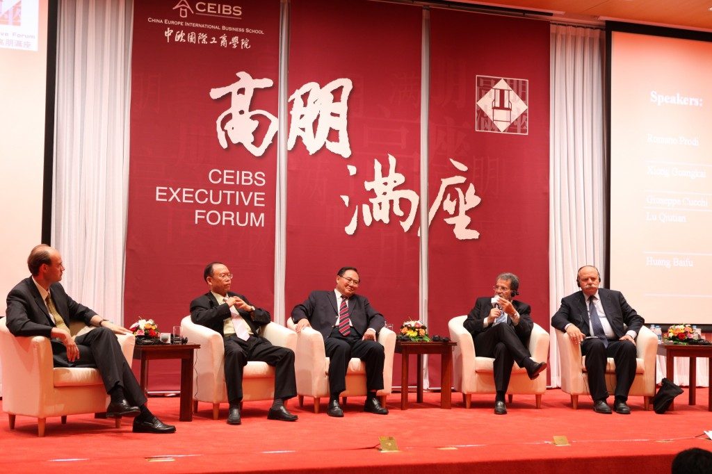 July 3 2010, public panel discussion at CEIBS Beijing, from right to left : General Giuseppe Cucchi, Romano Prodi, General Xiong Guangkai, Ambassador Lu Qiutian and David Gosset.