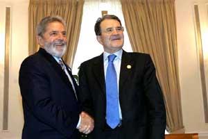 Lula con Romano Prodi nel 2007