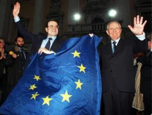 Prodi e Ciampi il 1 maggio 1998 festeggiano il successo della manovra che ha portato l'Italia nell'Euro