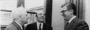 Giuseppe Dozza con Renato Zangheri e Guido Fanti