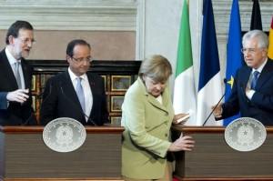 Mariano Rajoy Brey,  François Hollande,  Angela Merkel  e Mario Monti