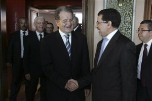 U.N. special envoy for the Sahel region and former Italian prime minister Romano Prodi meets with Moroccan Foreign Affairs Minister Saad-Eddine Al-Othmani in Rabat